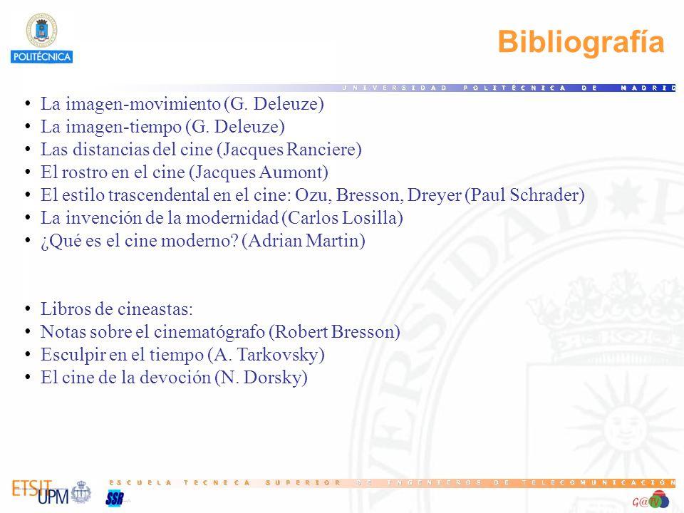Bibliografía La imagen-movimiento (G. Deleuze) La imagen-tiempo (G. Deleuze) Las distancias del cine (Jacques Ranciere) El rostro en el cine (Jacques