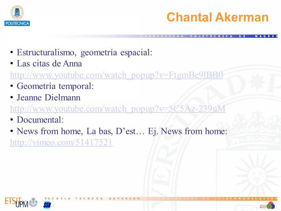 Chantal Akerman Estructuralismo, geometría espacial: Las citas de Anna http://www.youtube.com/watch_popup?v=FtgmBe9lBB0 Geometría temporal: Jeanne Dielmann http://www.youtube.com/watch_popup?v=5C5Az-239uM Documental: News from home, La bas, Dest… Ej.