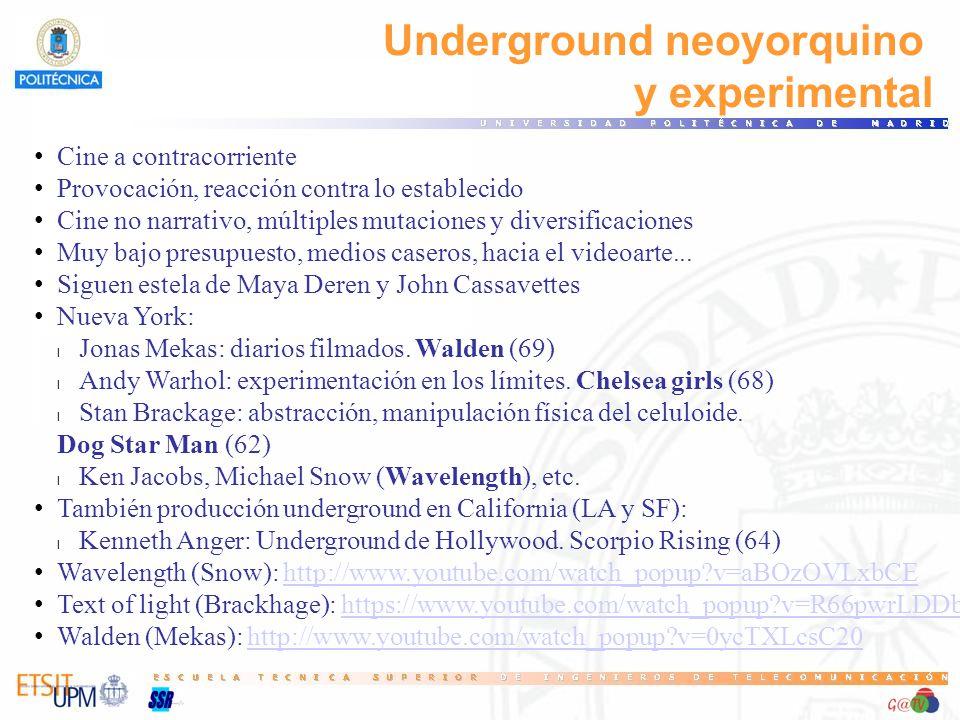 Underground neoyorquino y experimental Cine a contracorriente Provocación, reacción contra lo establecido Cine no narrativo, múltiples mutaciones y diversificaciones Muy bajo presupuesto, medios caseros, hacia el videoarte...