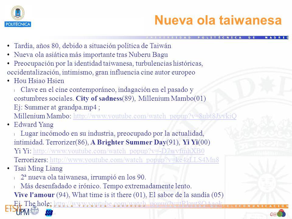 Nueva ola taiwanesa Tardía, años 80, debido a situación política de Taiwán Nueva ola asiática más importante tras Nuberu Bagu Preocupación por la iden