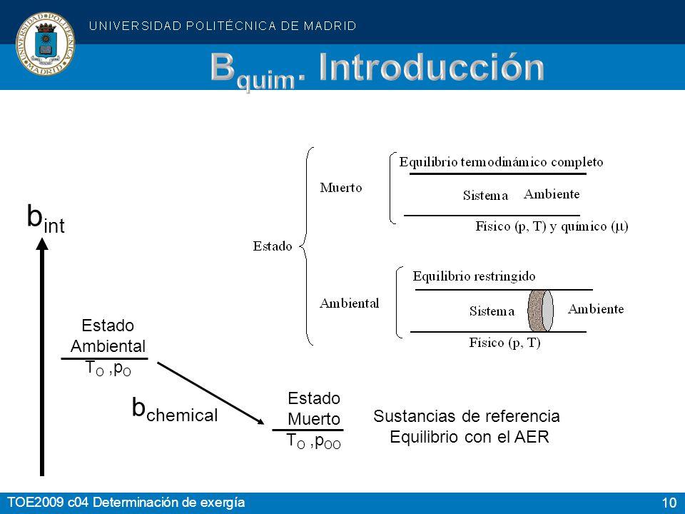 10 TOE2009 c04 Determinación de exergía Estado Ambiental T O,p O Estado Muerto T O,p OO b int b chemical Sustancias de referencia Equilibrio con el AE