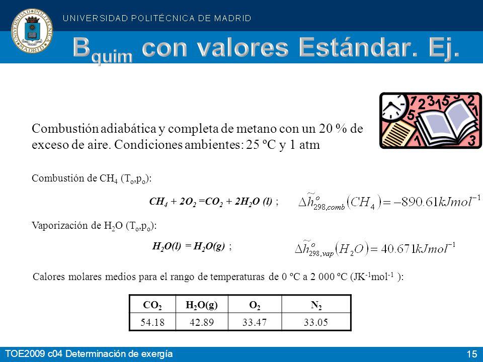 15 TOE2009 c04 Determinación de exergía Combustión adiabática y completa de metano con un 20 % de exceso de aire. Condiciones ambientes: 25 ºC y 1 atm