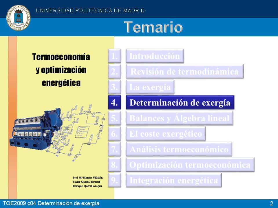 3 TOE2009 c04 Determinación de exergía b = b int + b k + b p Estado Actual (T, p) Estado ambiental T O,p O Estado Muerto T O,p OO b int b física b química
