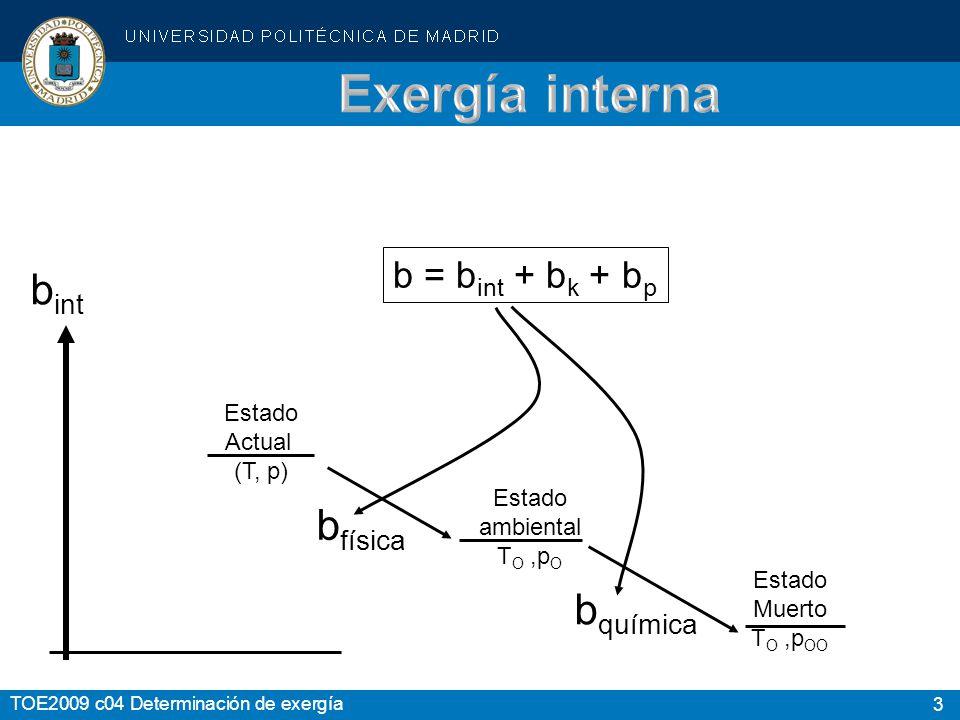 4 TOE2009 c04 Determinación de exergía b int = b física + b química La exergía química sólo interesa cuando haya reacciones, ó cambios de composición, en el sistema estudiado.