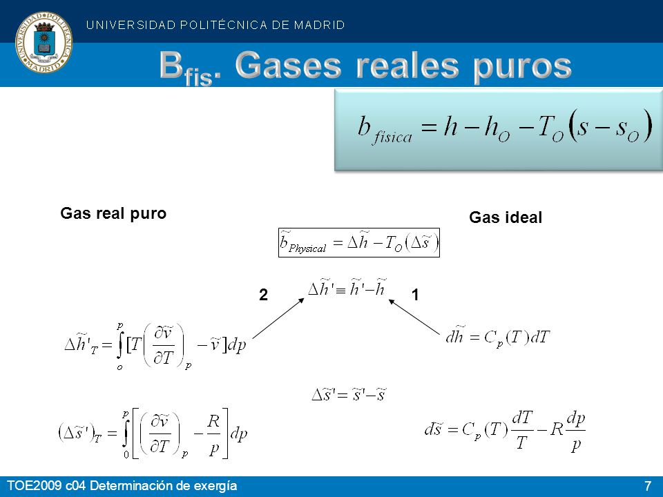 7 Gas real puro Gas ideal 1 2