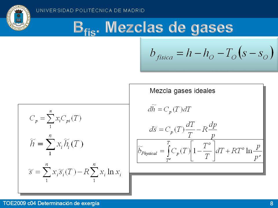 8 TOE2009 c04 Determinación de exergía Mezcla gases ideales