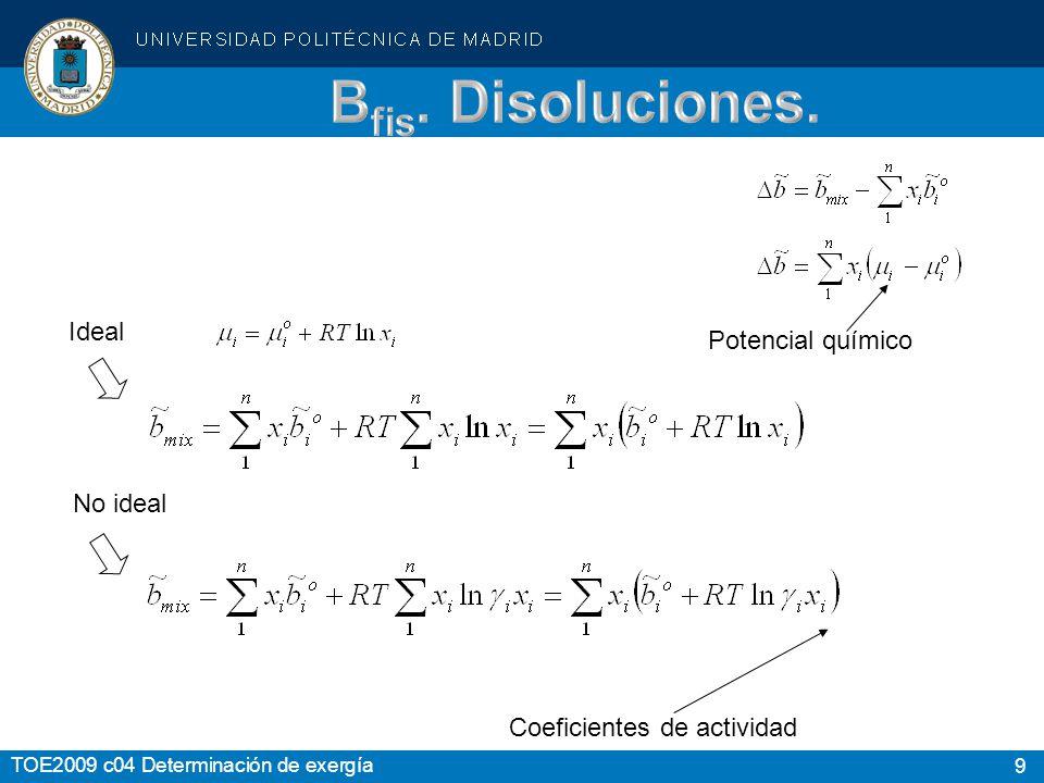 9 TOE2009 c04 Determinación de exergía Ideal No ideal Coeficientes de actividad Potencial químico