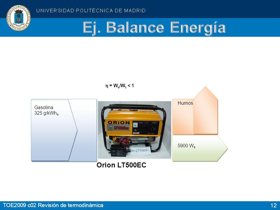 12 TOE2009 c02 Revisión de termodinámica Gasolina 325 g/kWh e 5900 W e = W e /W t < 1 Humos Orion LT500EC