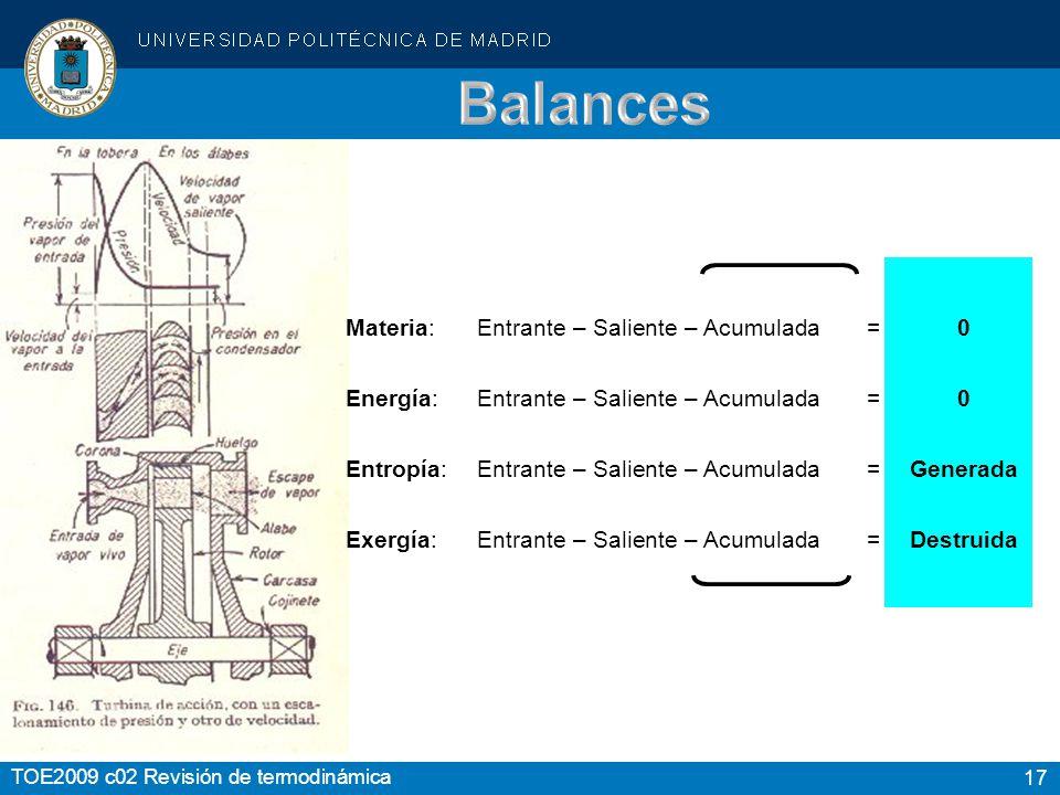 17 TOE2009 c02 Revisión de termodinámica Materia:Entrante – Saliente – Acumulada = 0 Energía:Entrante – Saliente – Acumulada = 0 Entropía:Entrante – S