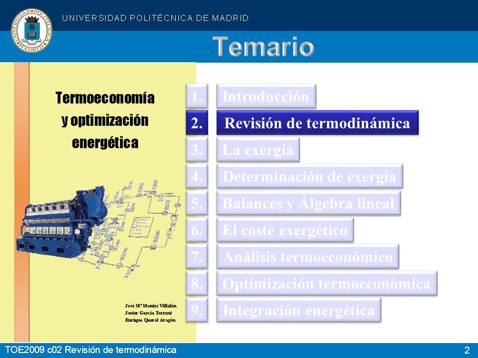 2 Introducción Revisión de termodinámica La exergía Determinación de exergía Balances y Álgebra lineal El coste exergético Análisis termoeconómico Opt
