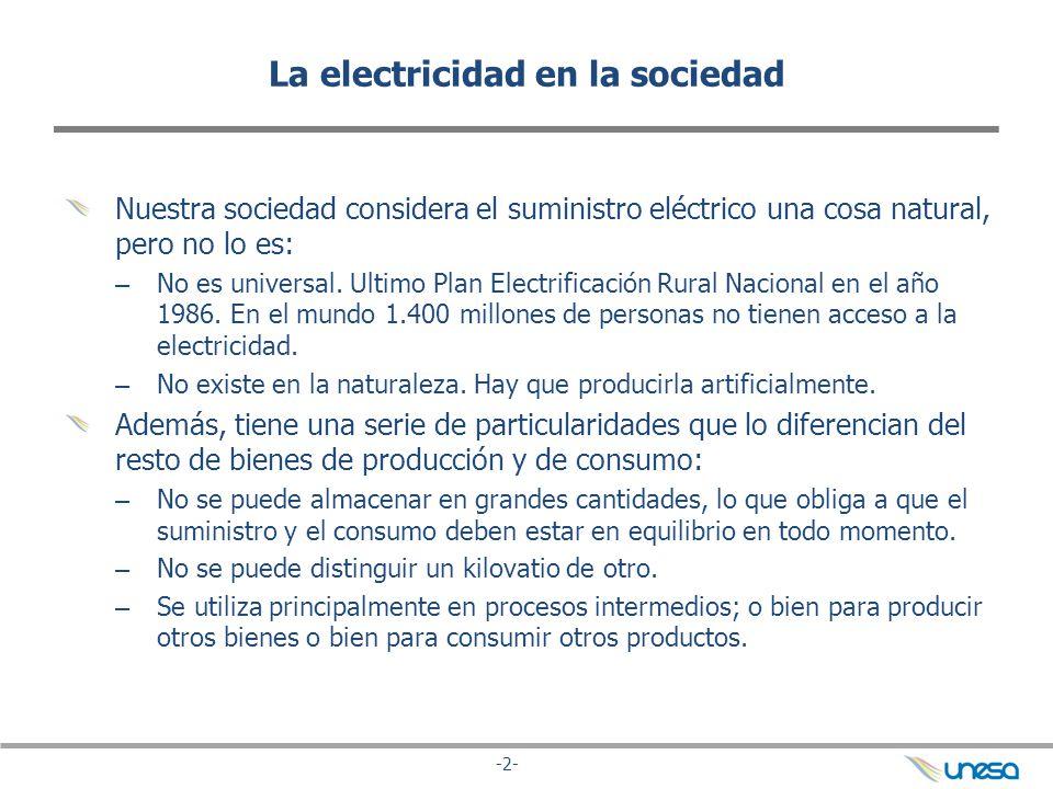 -2- La electricidad en la sociedad Nuestra sociedad considera el suministro eléctrico una cosa natural, pero no lo es: – No es universal. Ultimo Plan