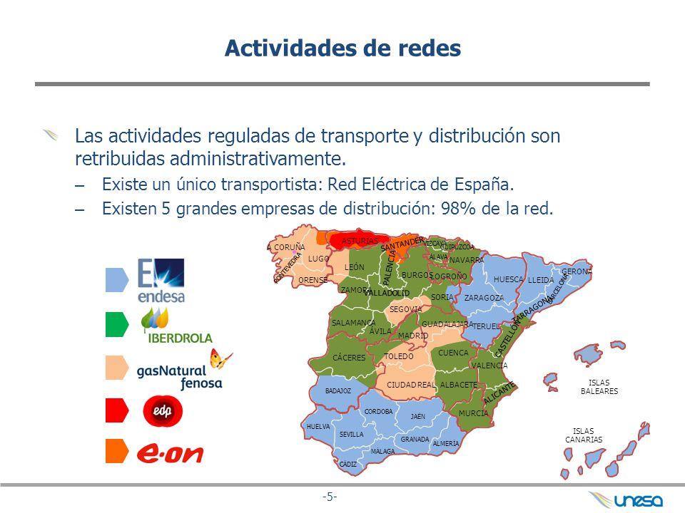 -5- Actividades de redes Las actividades reguladas de transporte y distribución son retribuidas administrativamente. – Existe un único transportista: