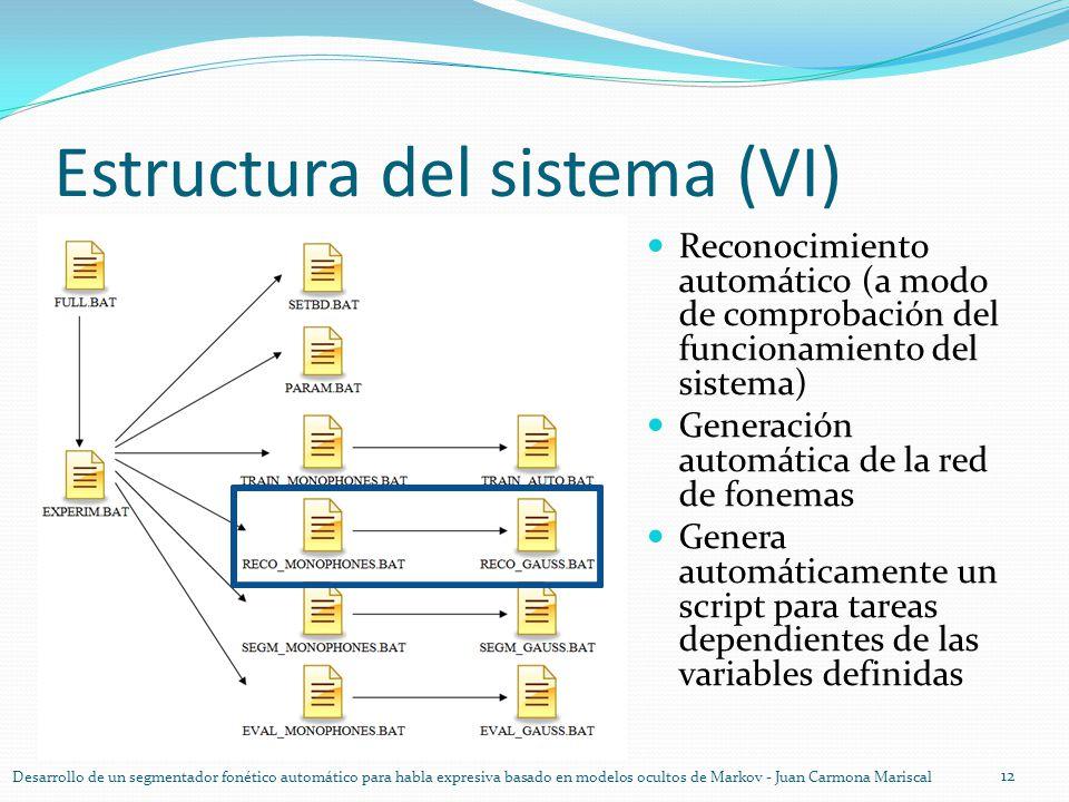 Estructura del sistema (VI) 12 Desarrollo de un segmentador fonético automático para habla expresiva basado en modelos ocultos de Markov - Juan Carmon