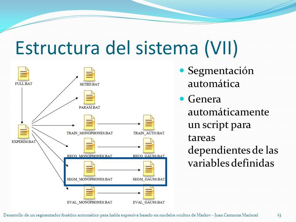 Estructura del sistema (VII) 13 Desarrollo de un segmentador fonético automático para habla expresiva basado en modelos ocultos de Markov - Juan Carmo