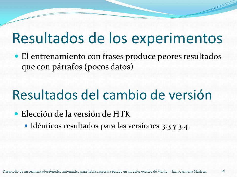 Resultados de los experimentos El entrenamiento con frases produce peores resultados que con párrafos (pocos datos) 16 Desarrollo de un segmentador fo