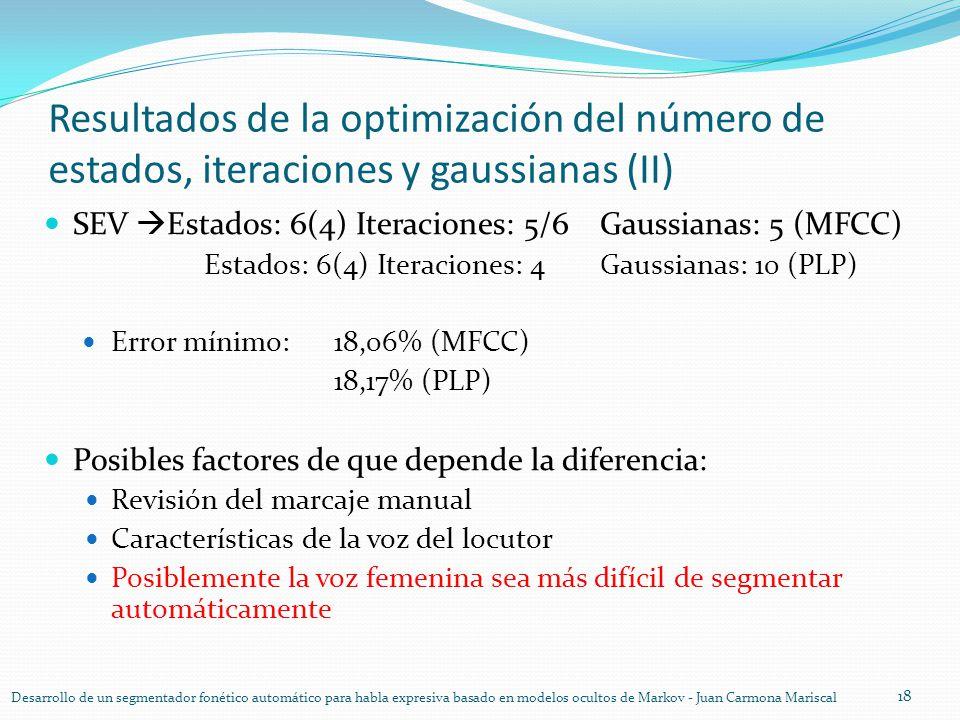 Resultados de la optimización del número de estados, iteraciones y gaussianas (II) SEV Estados: 6(4) Iteraciones: 5/6Gaussianas: 5 (MFCC) Estados: 6(4