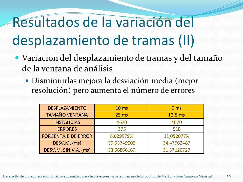 Resultados de la variación del desplazamiento de tramas (II) Variación del desplazamiento de tramas y del tamaño de la ventana de análisis Disminuirla