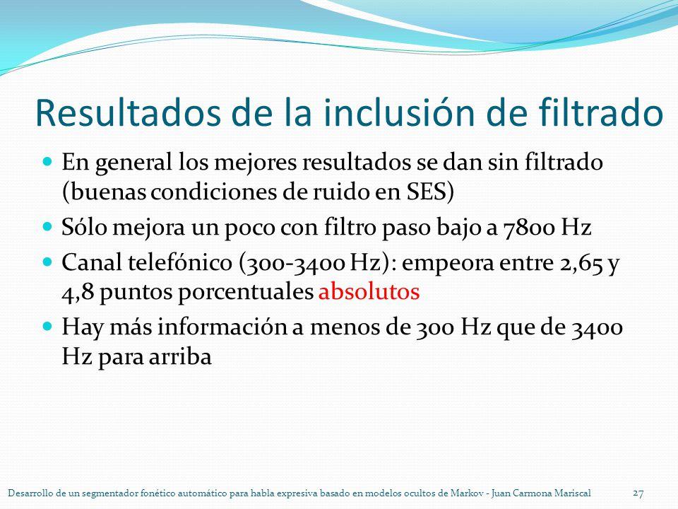 Resultados de la inclusión de filtrado En general los mejores resultados se dan sin filtrado (buenas condiciones de ruido en SES) Sólo mejora un poco