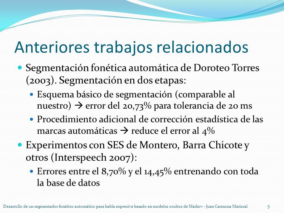 Anteriores trabajos relacionados Segmentación fonética automática de Doroteo Torres (2003). Segmentación en dos etapas: Esquema básico de segmentación