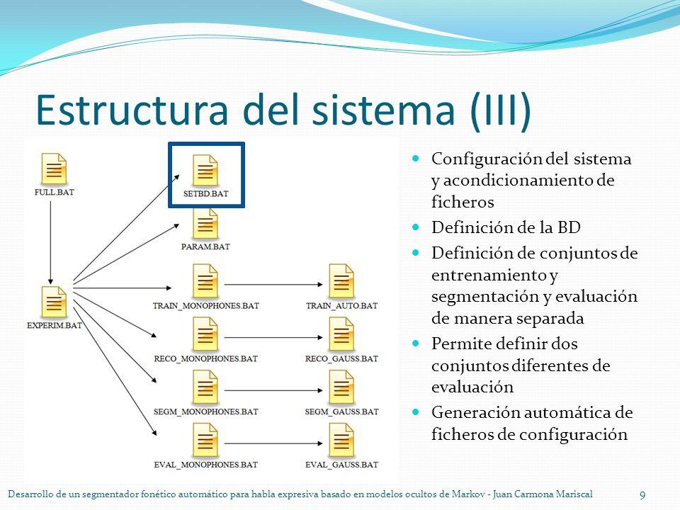 Estructura del sistema (III) 9 Desarrollo de un segmentador fonético automático para habla expresiva basado en modelos ocultos de Markov - Juan Carmon