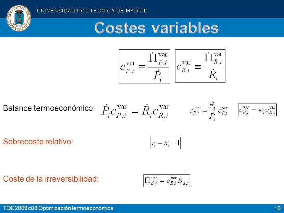10 TOE2009 c08 Optimización termoeconómica Balance termoeconómico: Sobrecoste relativo: Coste de la irreversibilidad: