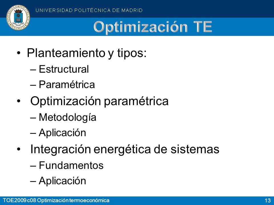 13 TOE2009 c08 Optimización termoeconómica Planteamiento y tipos: –Estructural –Paramétrica Optimización paramétrica –Metodología –Aplicación Integración energética de sistemas –Fundamentos –Aplicación