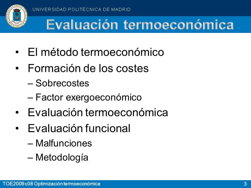 3 TOE2009 c08 Optimización termoeconómica El método termoeconómico Formación de los costes –Sobrecostes –Factor exergoeconómico Evaluación termoeconómica Evaluación funcional –Malfunciones –Metodología