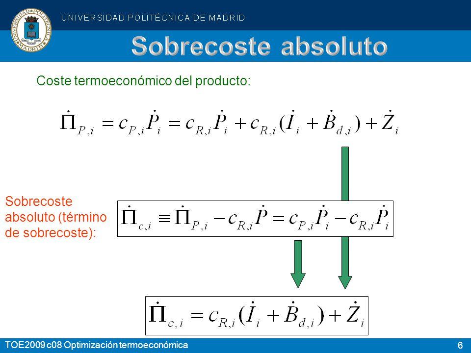 6 TOE2009 c08 Optimización termoeconómica Sobrecoste absoluto (término de sobrecoste): Coste termoeconómico del producto: