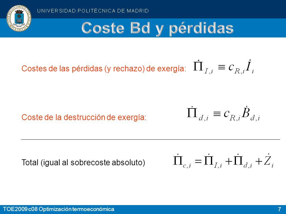 7 TOE2009 c08 Optimización termoeconómica Costes de las pérdidas (y rechazo) de exergía: Coste de la destrucción de exergía: Total (igual al sobrecoste absoluto)