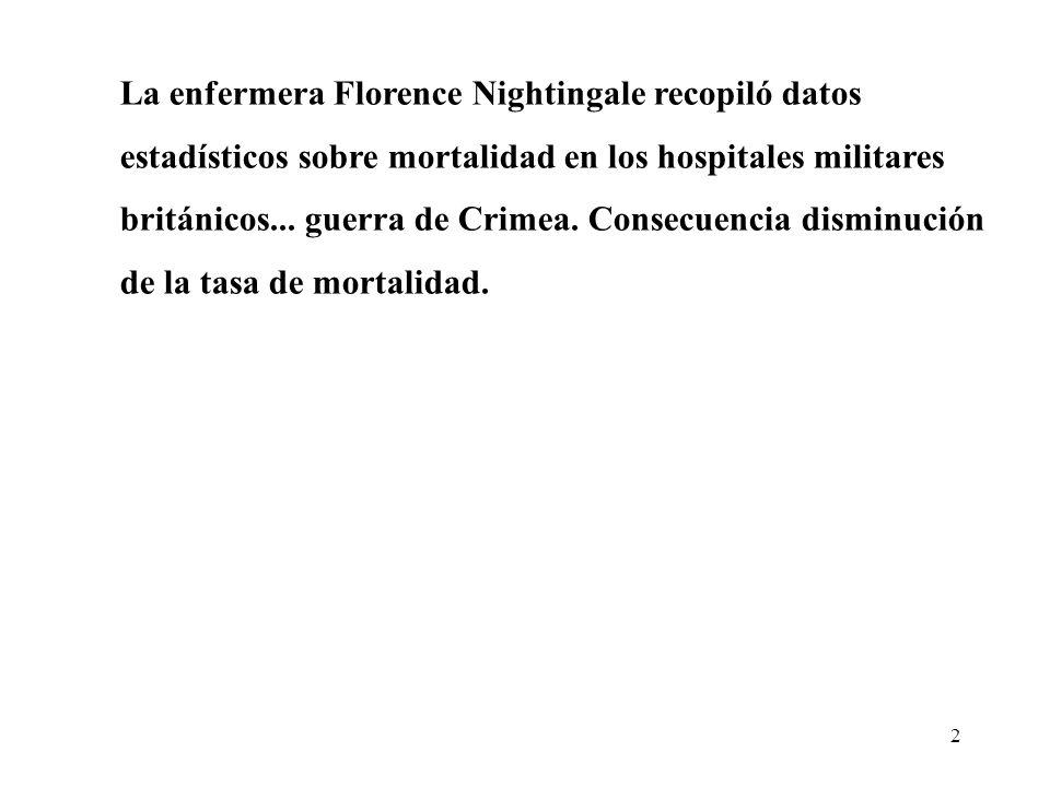 2 La enfermera Florence Nightingale recopiló datos estadísticos sobre mortalidad en los hospitales militares británicos...