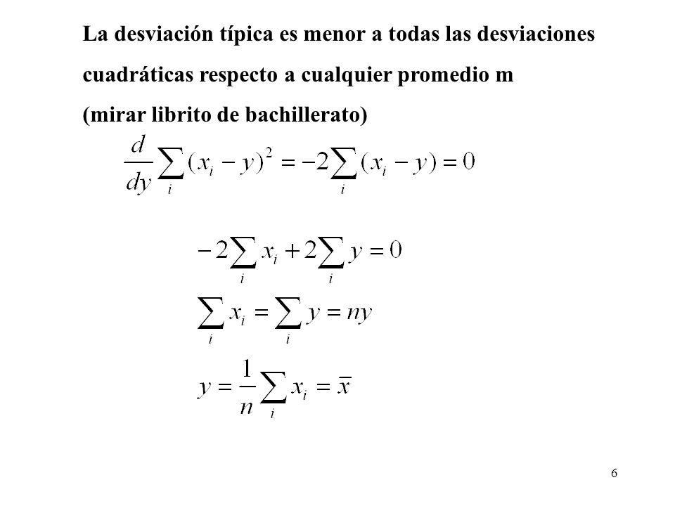 6 La desviación típica es menor a todas las desviaciones cuadráticas respecto a cualquier promedio m (mirar librito de bachillerato)