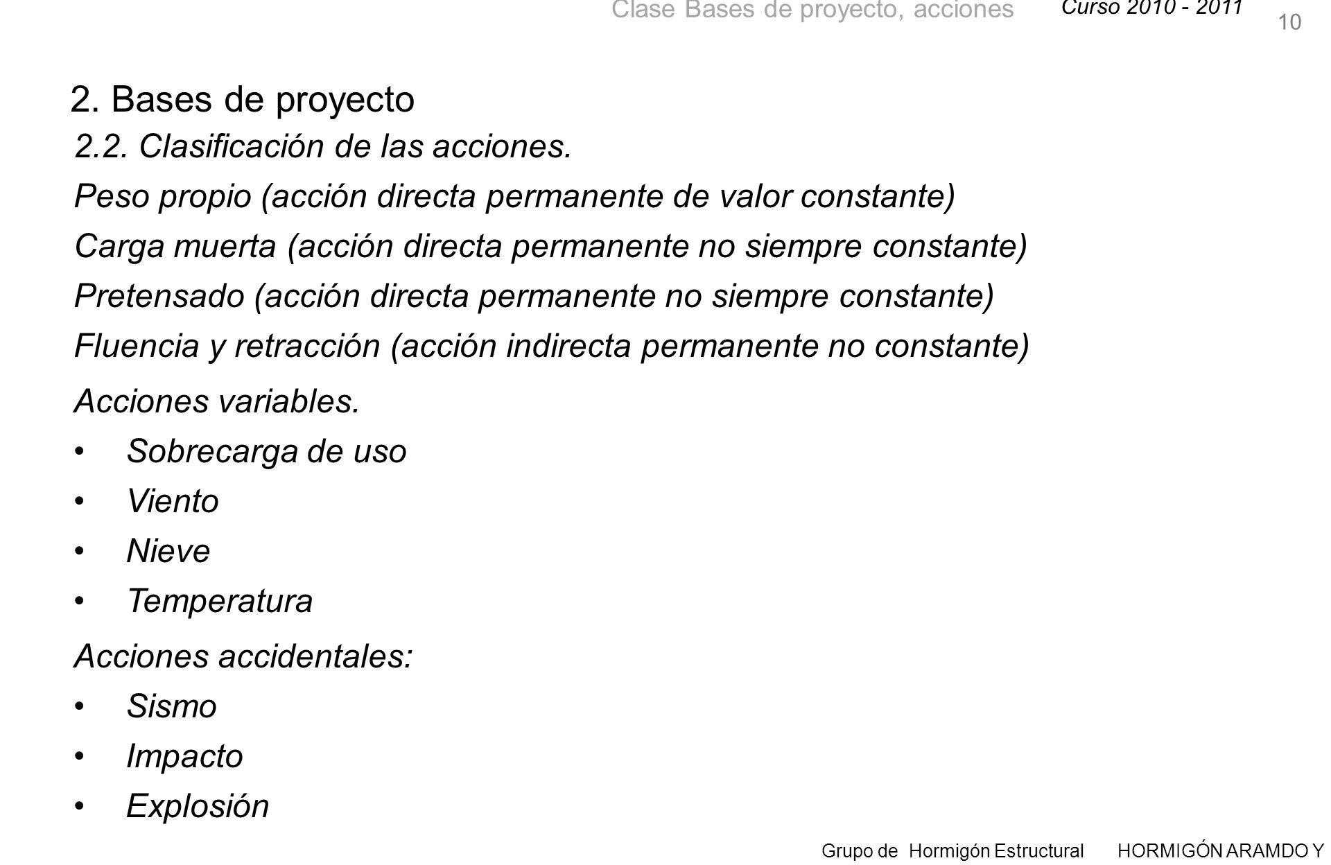 Curso 2010 - 2011 Grupo de Hormigón Estructural HORMIGÓN ARAMDO Y PRETENSADO II Clase Bases de proyecto, acciones 2.2.