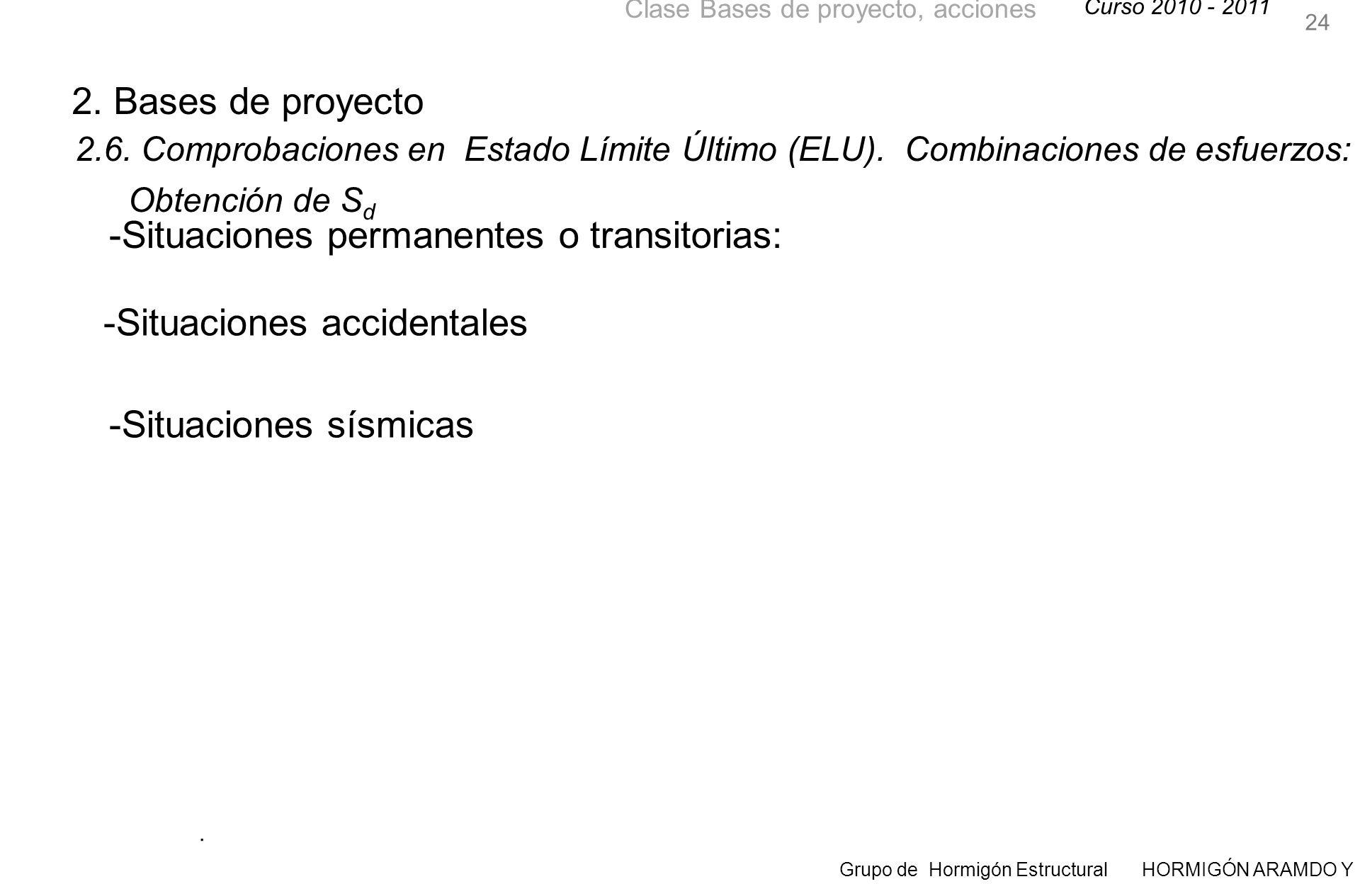 Curso 2010 - 2011 Grupo de Hormigón Estructural HORMIGÓN ARAMDO Y PRETENSADO II Clase Bases de proyecto, acciones 24 2.6.