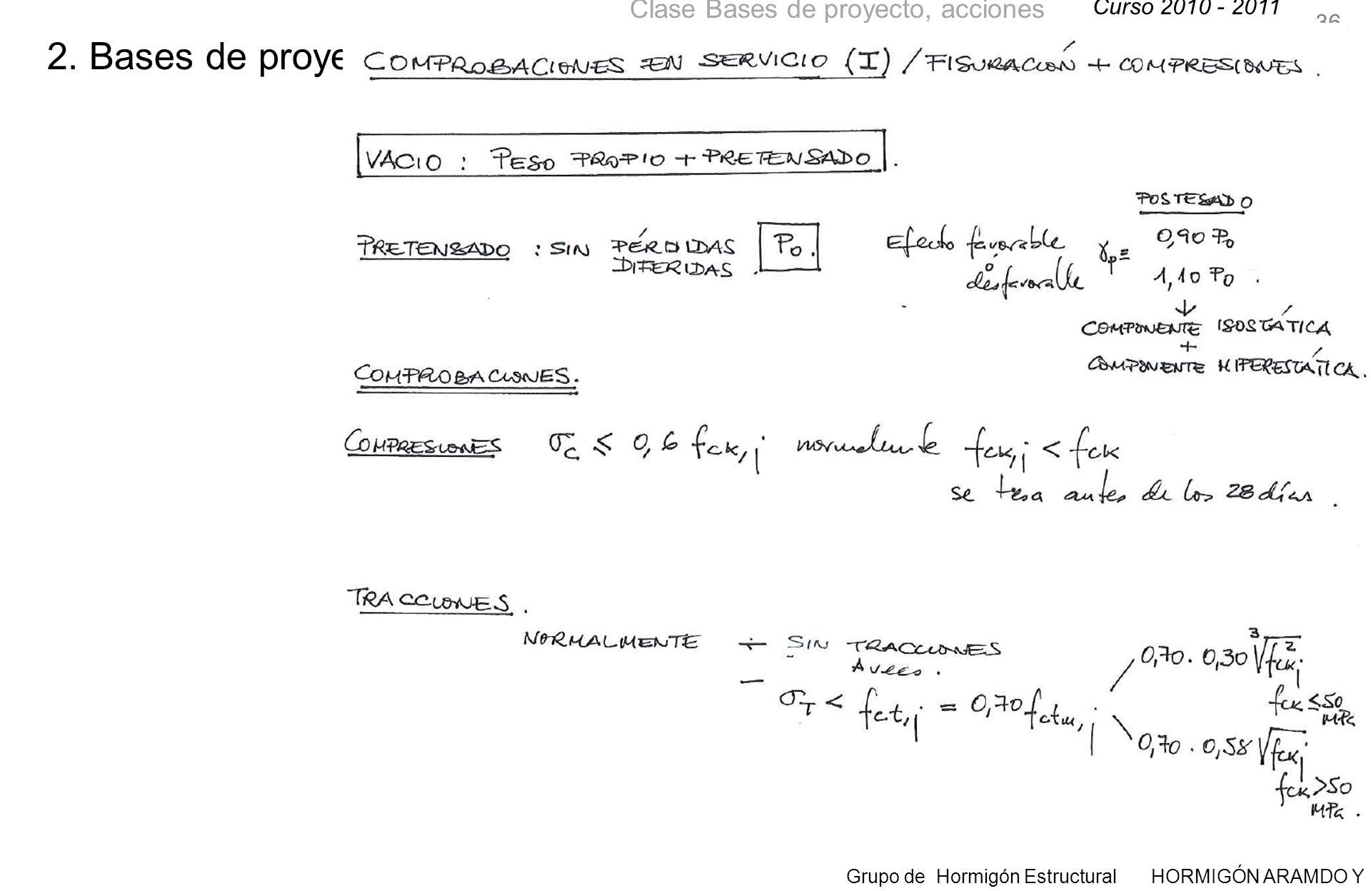 Curso 2010 - 2011 Grupo de Hormigón Estructural HORMIGÓN ARAMDO Y PRETENSADO II Clase Bases de proyecto, acciones 36 2.
