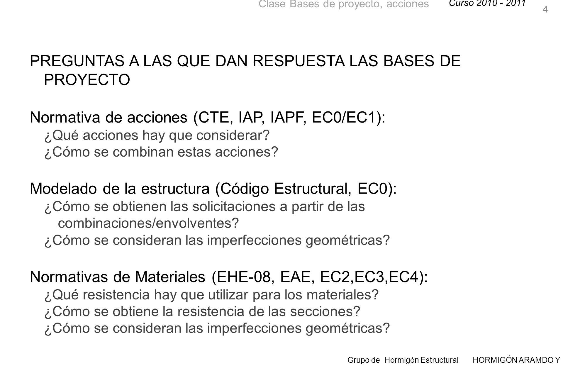 Curso 2010 - 2011 Grupo de Hormigón Estructural HORMIGÓN ARAMDO Y PRETENSADO II Clase Bases de proyecto, acciones PREGUNTAS A LAS QUE DAN RESPUESTA LAS BASES DE PROYECTO Normativa de acciones (CTE, IAP, IAPF, EC0/EC1): ¿Qué acciones hay que considerar.