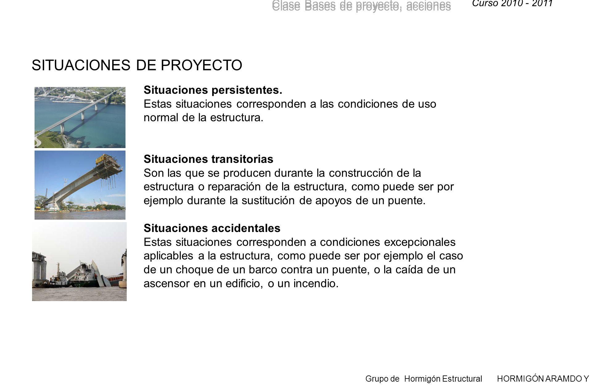 Curso 2010 - 2011 Grupo de Hormigón Estructural HORMIGÓN ARAMDO Y PRETENSADO II Clase Bases de proyecto, acciones Situaciones persistentes.