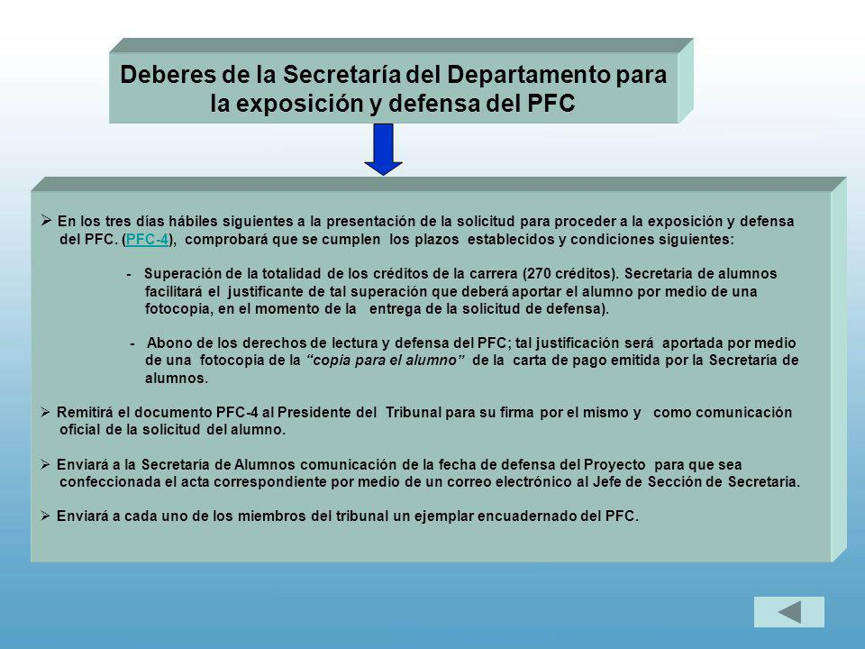 Deberes de la Secretaría del Departamento para la exposición y defensa del PFC En los tres días hábiles siguientes a la presentación de la solicitud p