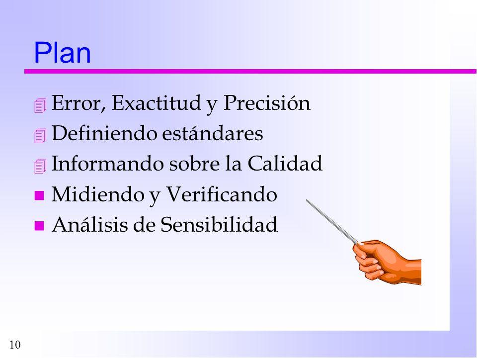 10 Plan 4 Error, Exactitud y Precisión 4 Definiendo estándares 4 Informando sobre la Calidad n Midiendo y Verificando n Análisis de Sensibilidad