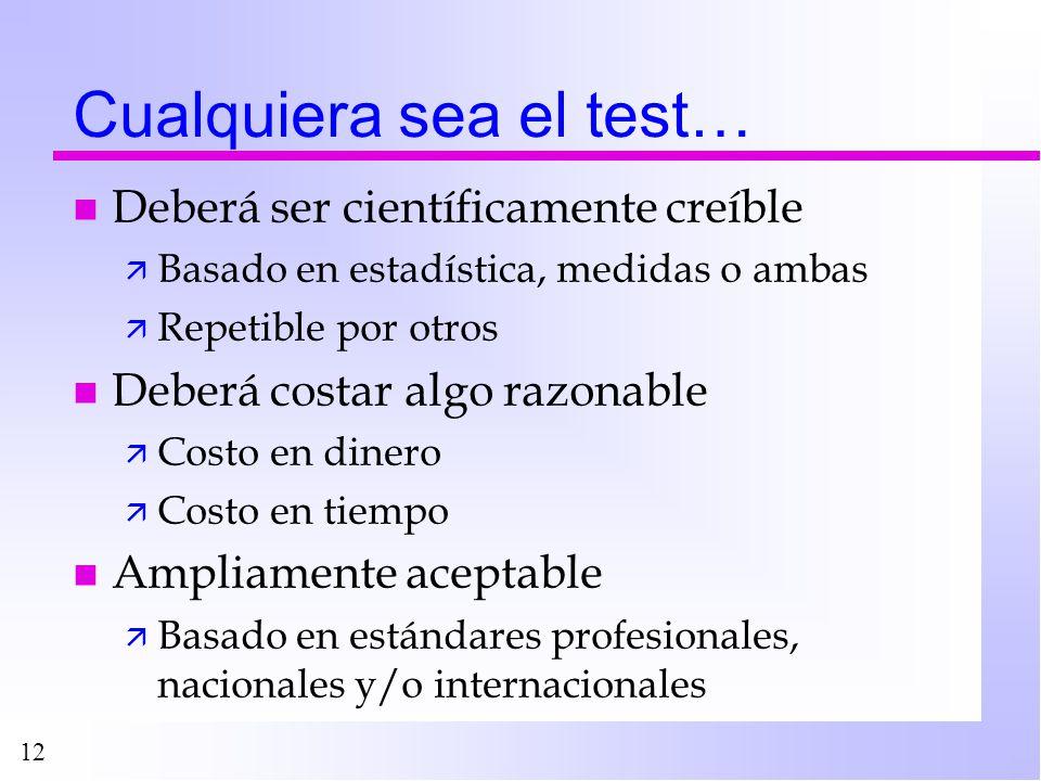 12 Cualquiera sea el test… n Deberá ser científicamente creíble ä Basado en estadística, medidas o ambas ä Repetible por otros n Deberá costar algo ra