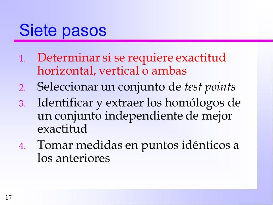 17 Siete pasos 1. Determinar si se requiere exactitud horizontal, vertical o ambas 2. Seleccionar un conjunto de test points 3. Identificar y extraer