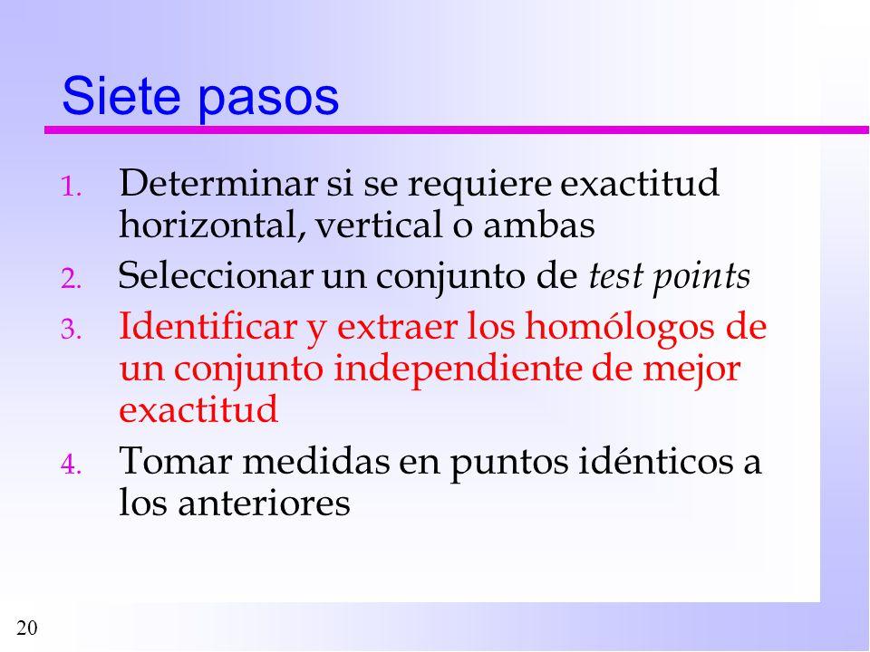 20 Siete pasos 1. Determinar si se requiere exactitud horizontal, vertical o ambas 2. Seleccionar un conjunto de test points 3. Identificar y extraer