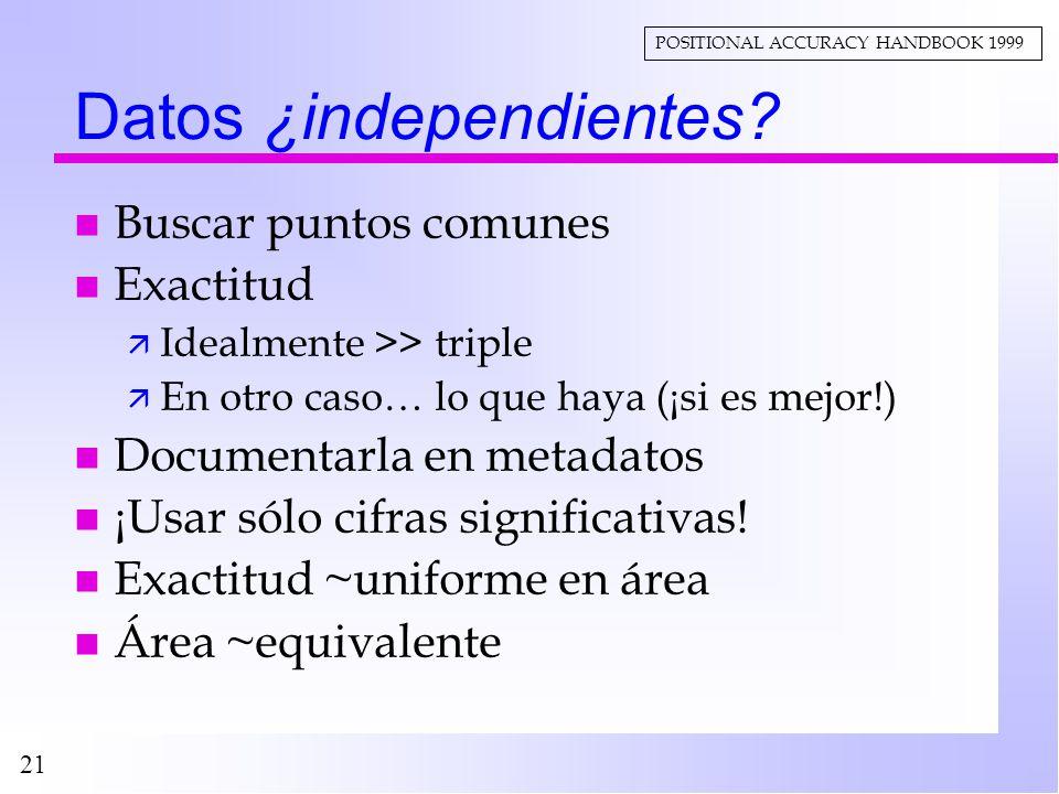 21 Datos ¿independientes? n Buscar puntos comunes n Exactitud ä Idealmente >> triple ä En otro caso… lo que haya (¡si es mejor!) n Documentarla en met