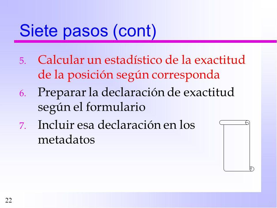 22 Siete pasos (cont) 5. Calcular un estadístico de la exactitud de la posición según corresponda 6. Preparar la declaración de exactitud según el for