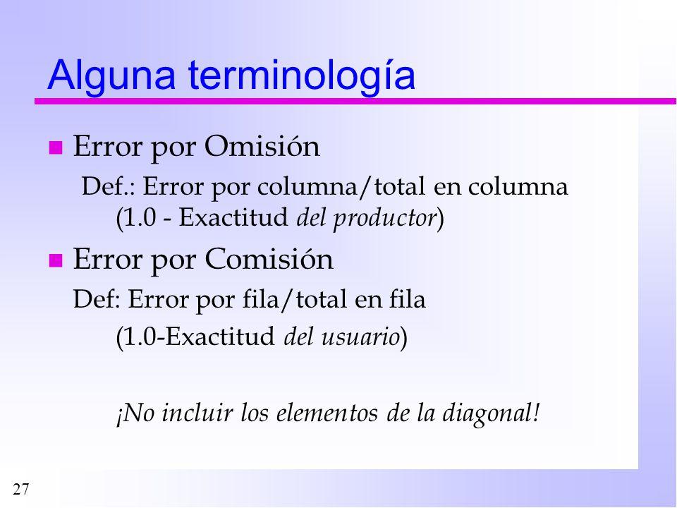 27 Alguna terminología n Error por Omisión Def.: Error por columna/total en columna (1.0 - Exactitud del productor ) n Error por Comisión Def: Error p
