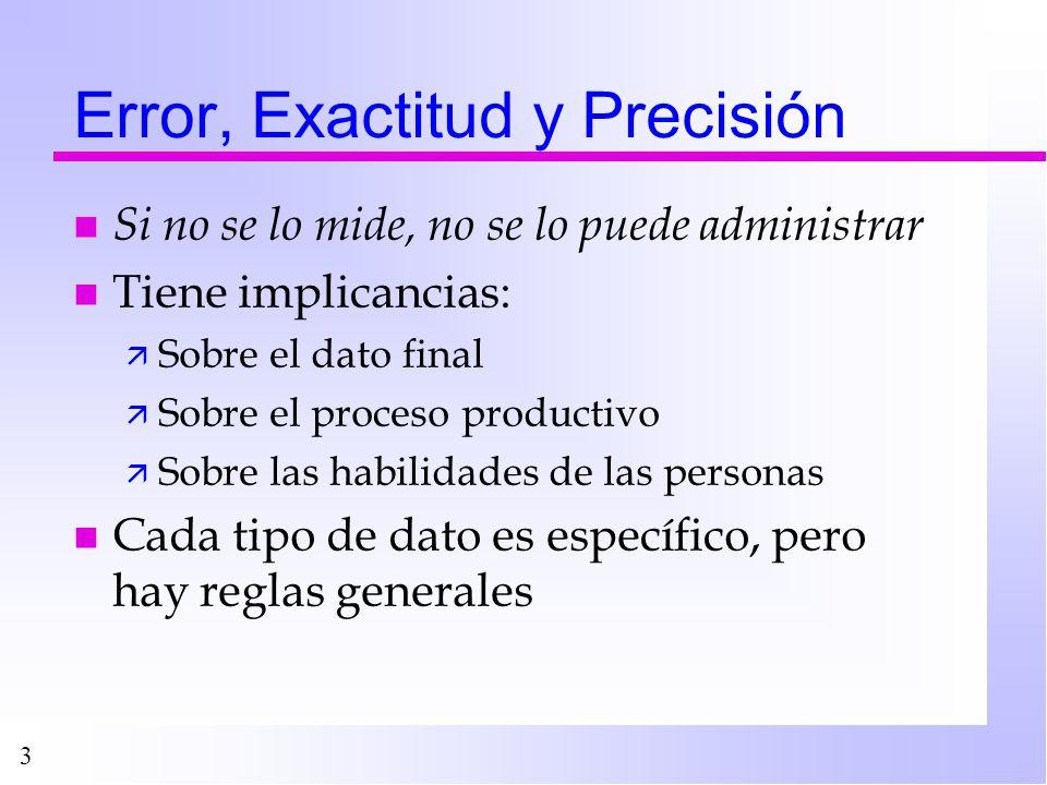 3 Error, Exactitud y Precisión n Si no se lo mide, no se lo puede administrar n Tiene implicancias: ä Sobre el dato final ä Sobre el proceso productiv