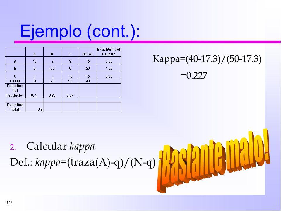 32 Ejemplo (cont.): 2. Calcular kappa Def.: kappa= (traza(A)-q)/(N-q) Kappa=(40-17.3)/(50-17.3) =0.227