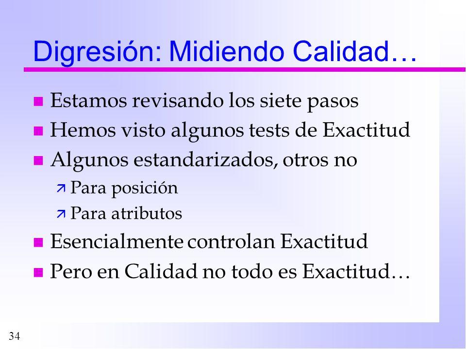 34 Digresión: Midiendo Calidad… n Estamos revisando los siete pasos n Hemos visto algunos tests de Exactitud n Algunos estandarizados, otros no ä Para