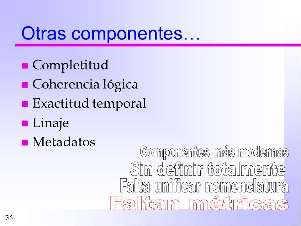 35 Otras componentes… n Completitud n Coherencia lógica n Exactitud temporal n Linaje n Metadatos