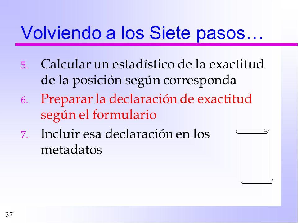 37 Volviendo a los Siete pasos… 5. Calcular un estadístico de la exactitud de la posición según corresponda 6. Preparar la declaración de exactitud se