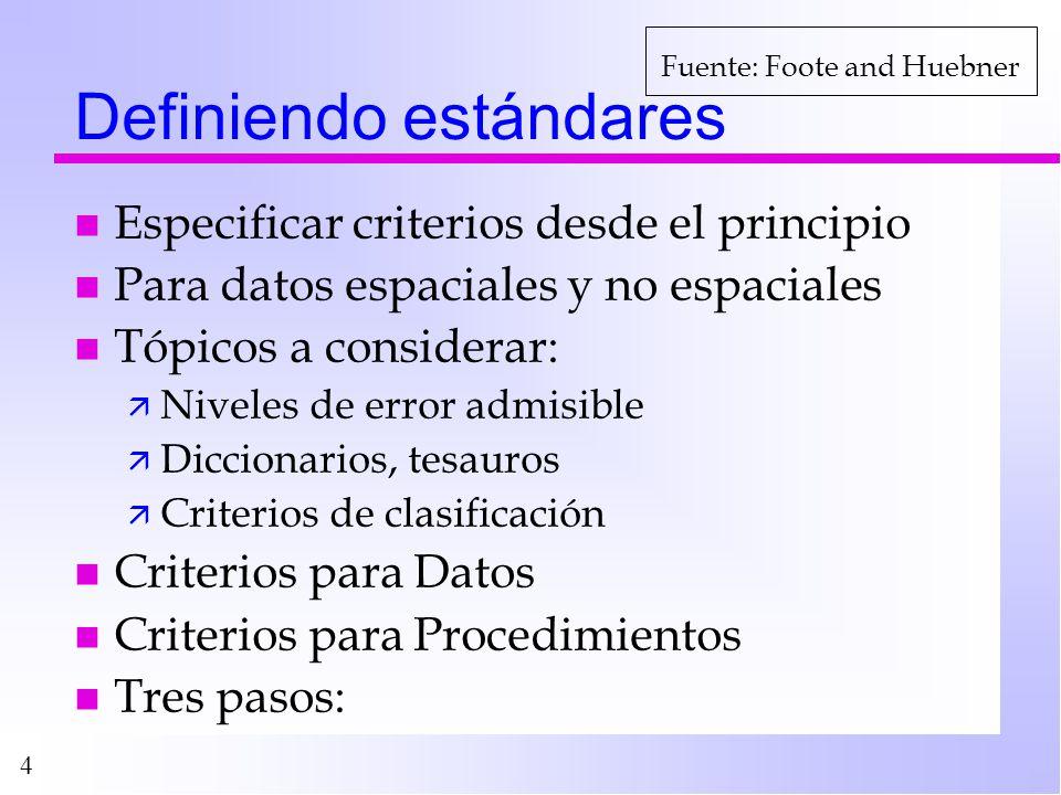 4 Definiendo estándares n Especificar criterios desde el principio n Para datos espaciales y no espaciales n Tópicos a considerar: ä Niveles de error